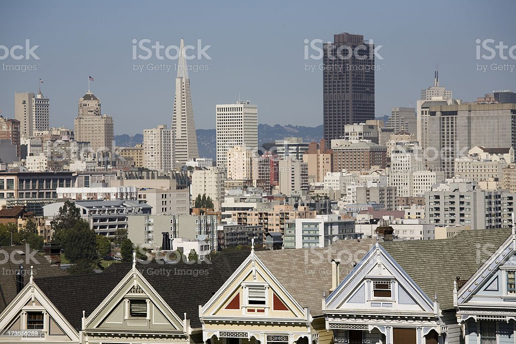 Famous view of San Francisco, Painted Ladies stock photo