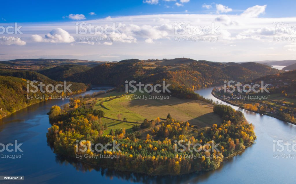 Famous view on Vltava river,  Czech Republic stock photo