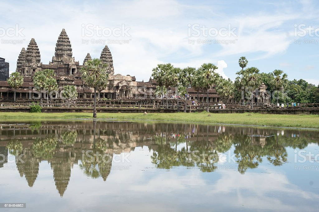 Famous View Point of Angkor Wat Temple, Cambodia stock photo