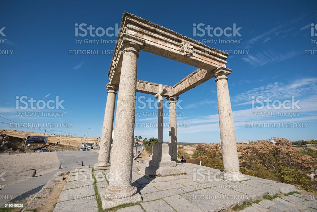 Famous viewpoint Los cuatro postes in Avila, Spain. stock photo