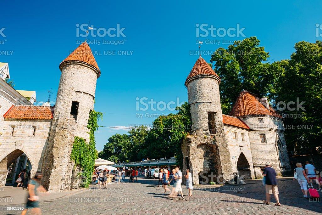 Famous Viru Gate - Part Old Town Architecture Estonian Capital, stock photo