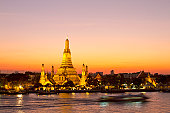 Famous Wat Arun temple in Bangkok at dusk