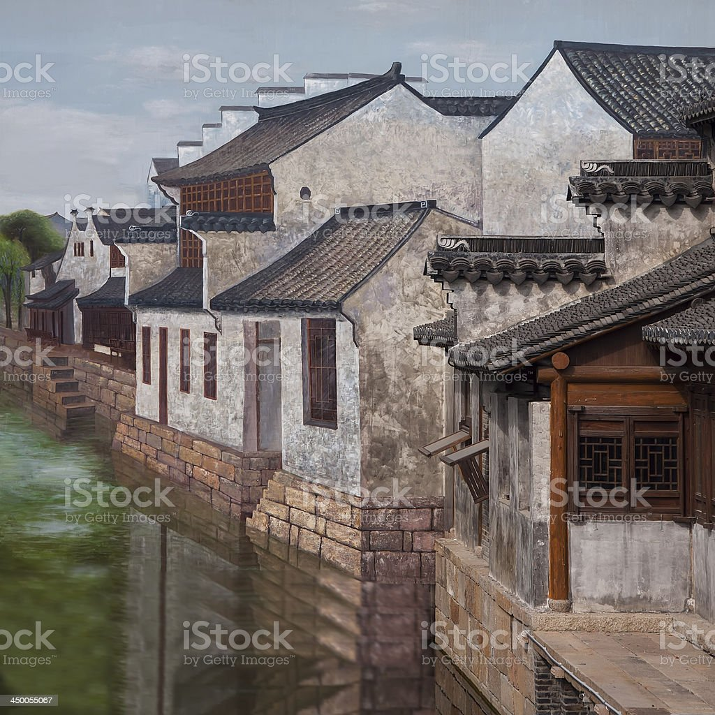 Famous water town in China ,combination of painting and live royalty-free stock photo