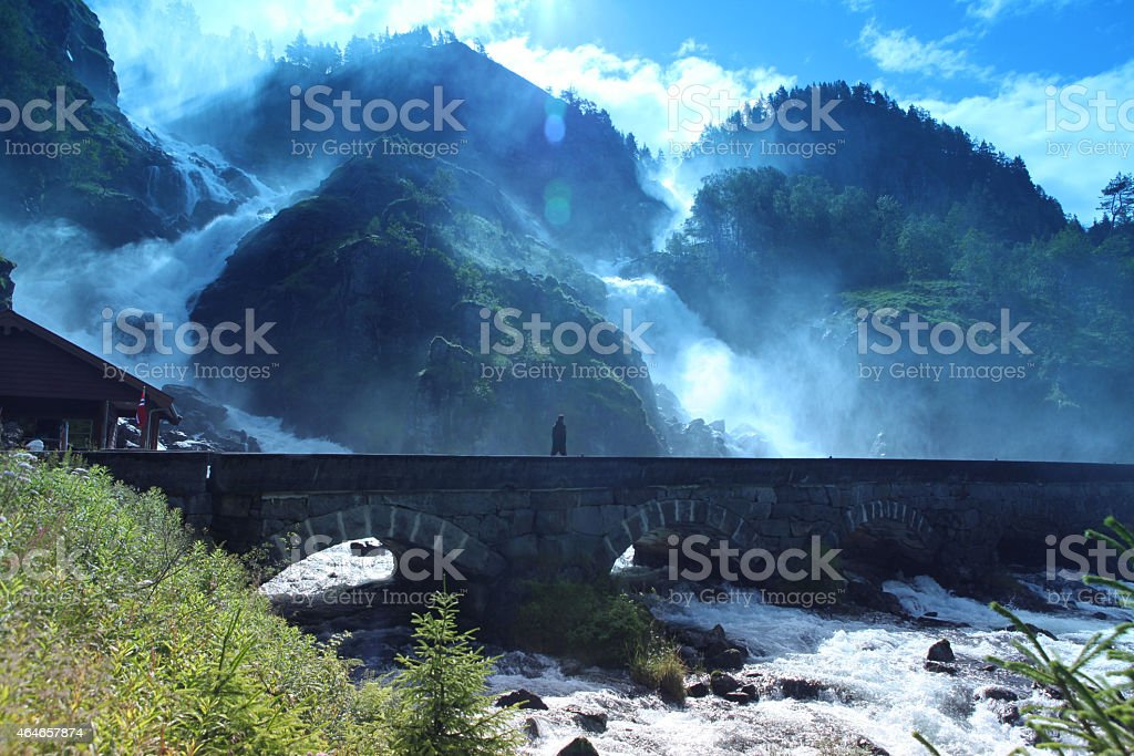 Famous  Waterfall Latefossen, Norway stock photo