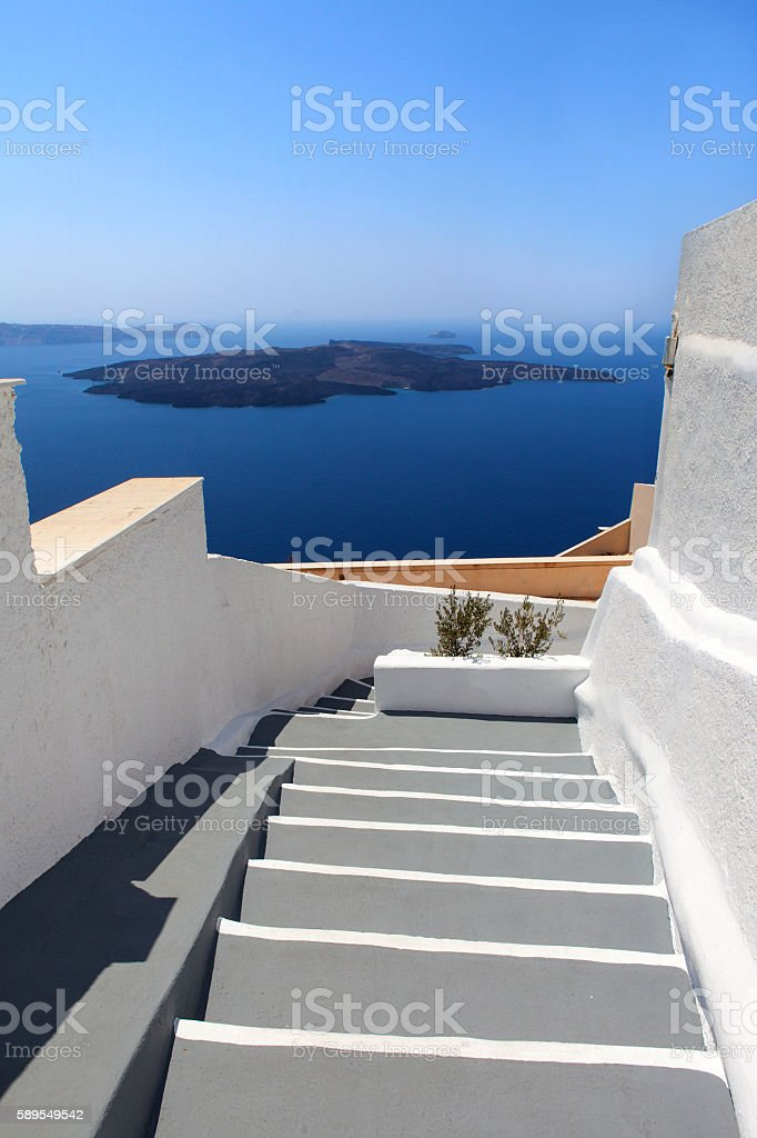 Famous white and grey stairs of Santorini stock photo