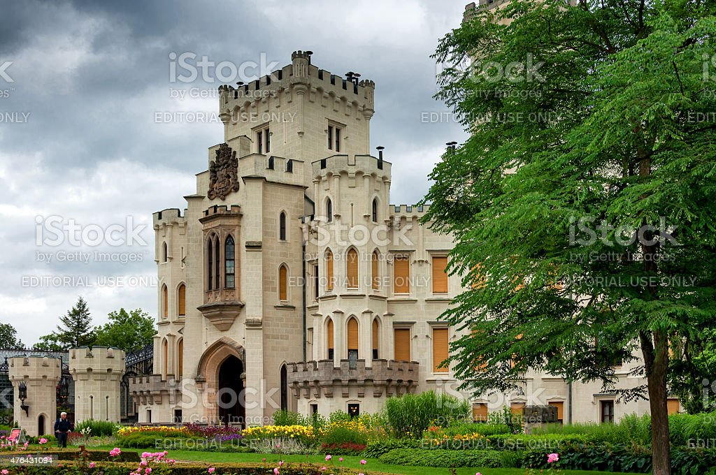 Famous white castle Hluboka nad Vltavou side view stock photo
