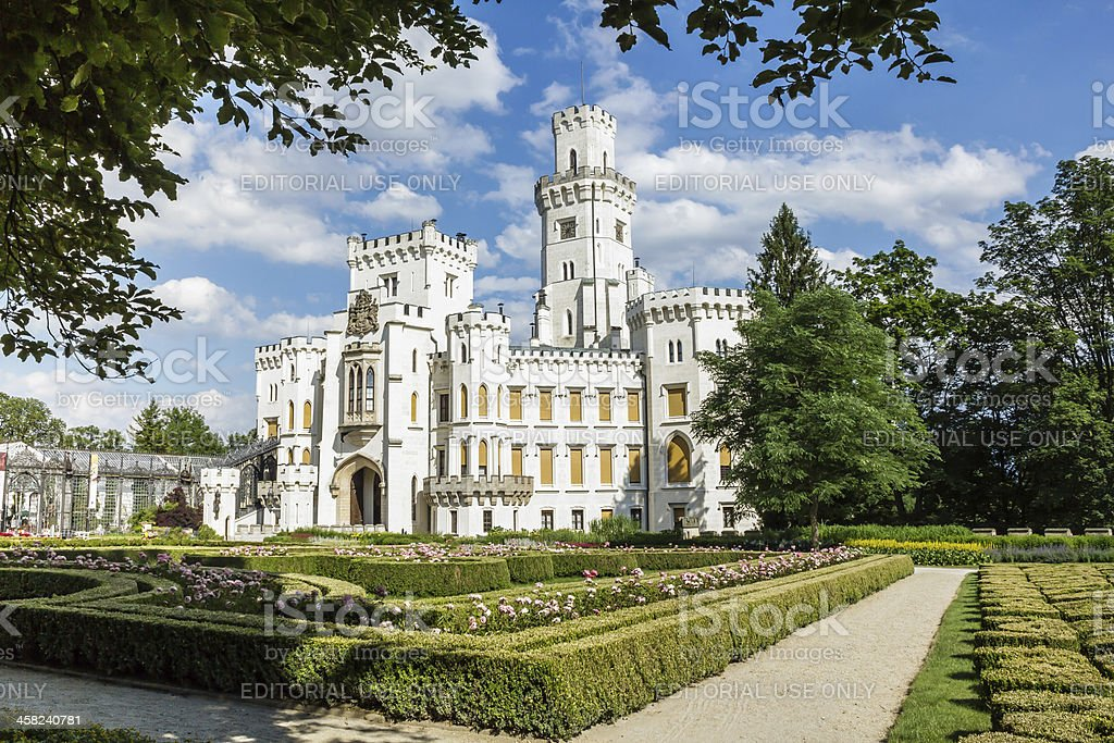 Famous white castle Hluboka nad Vltavou with no people stock photo