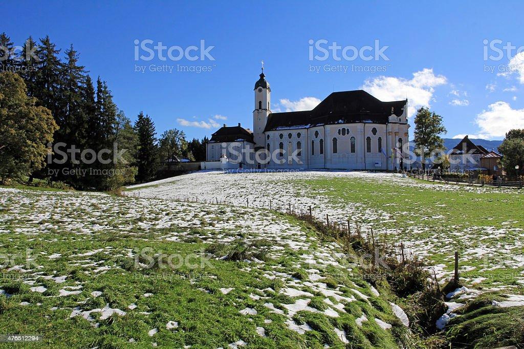 famous Wieskirche in Bavaria stock photo