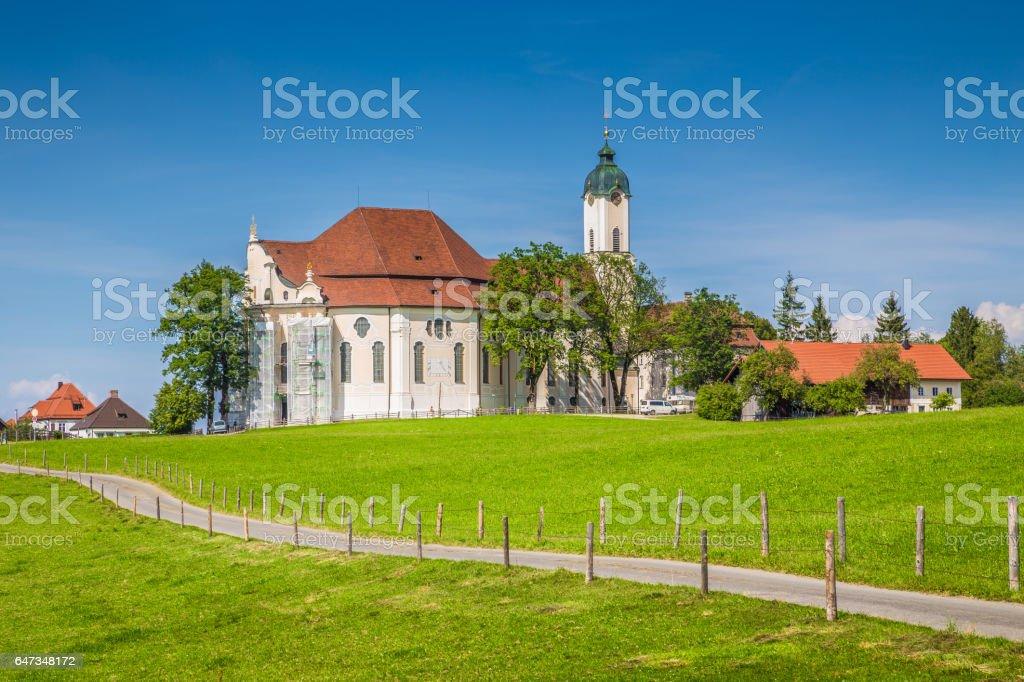 Famous Wieskirche pilgrimage church, Bavaria, Germany stock photo
