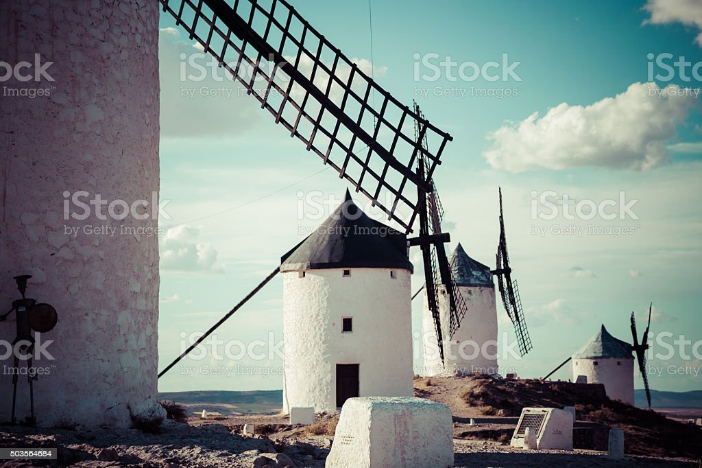 Famous windmills in Consuegra at sunset, province of Toledo, Cas stock photo