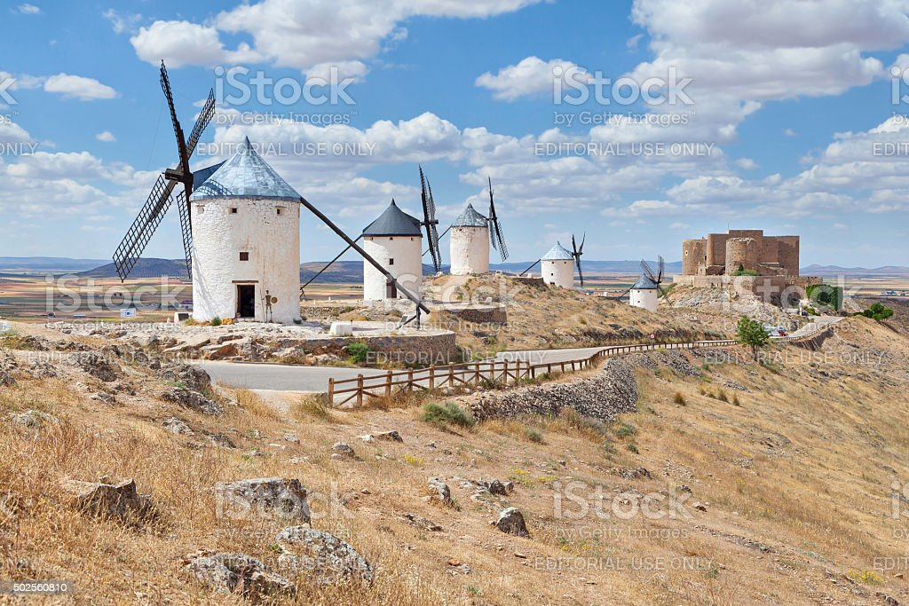 Famous windmills of Consuegra, Toledo province, Spain stock photo