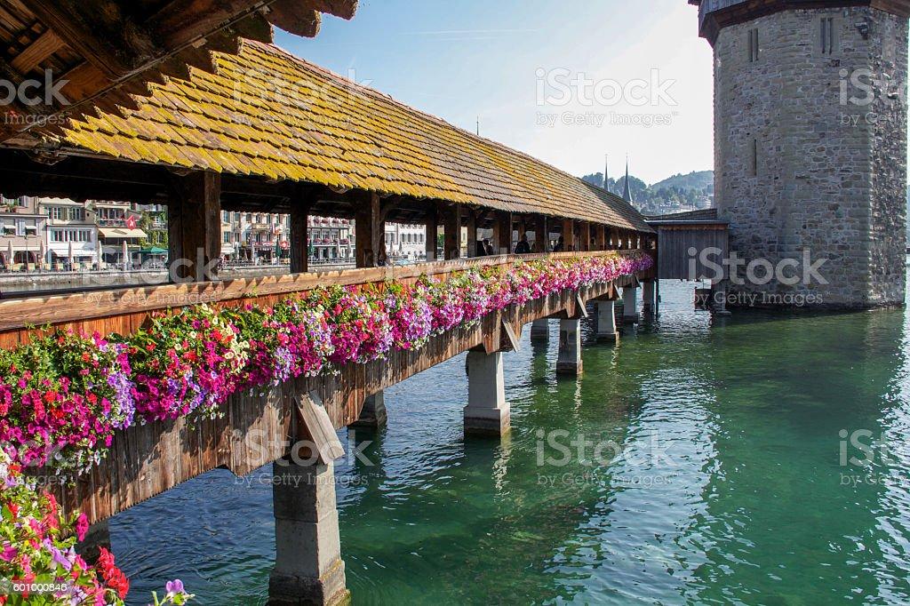 famous wooden chapel bridge in Lucern, Switzerland stock photo
