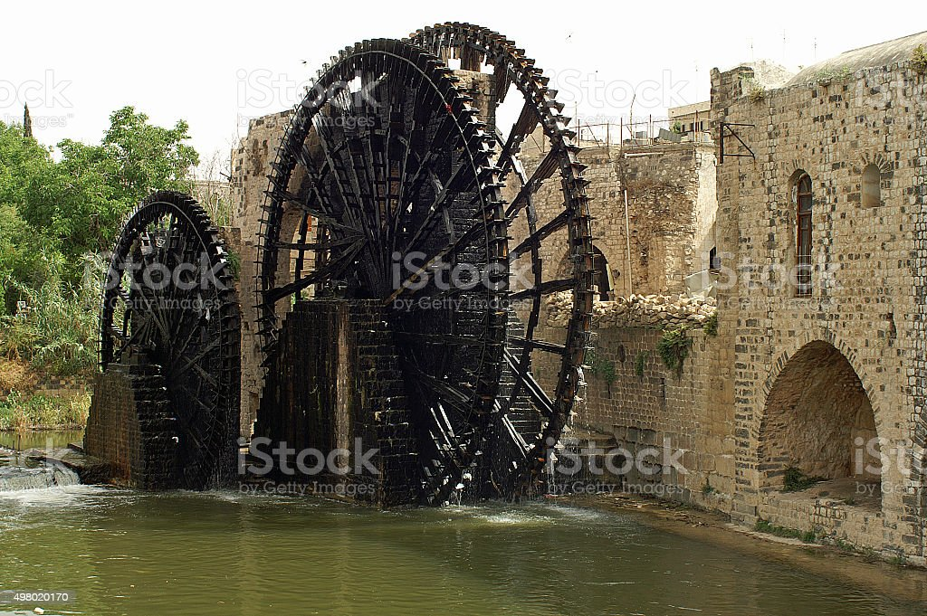 Famous wooden waterwheels in Hama in Syria stock photo