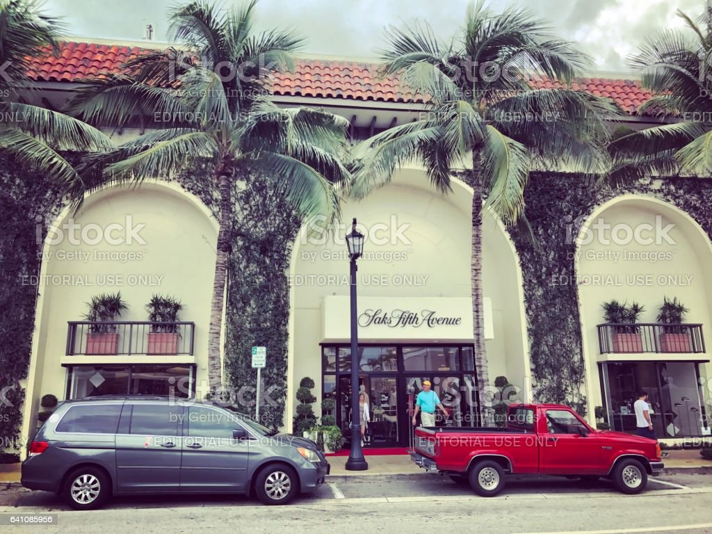 Famous Worth Avenue, shopping street, Palm Beach, USA stock photo