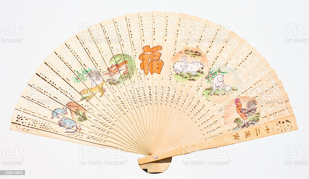 Fan a hand waving back and forth. Foldable. royalty-free stock photo