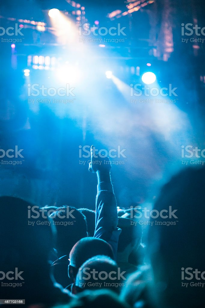 Fan at a concert stock photo