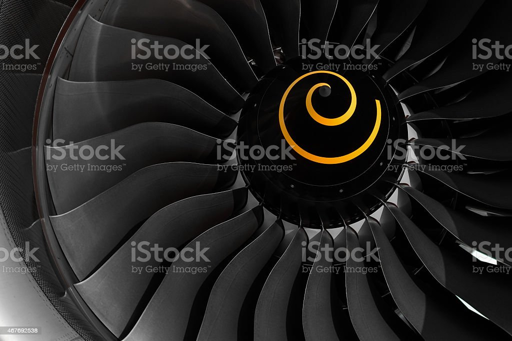 Fan blade of aircraft jet engine. stock photo