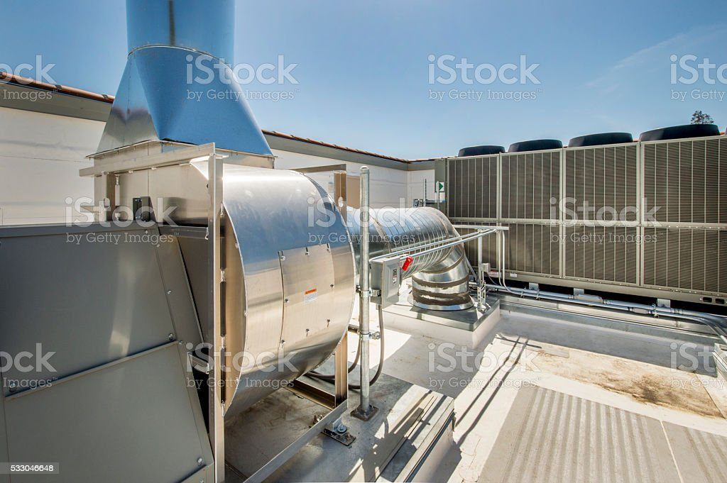 Fan, Ducting aand Chiller for HVAC stock photo