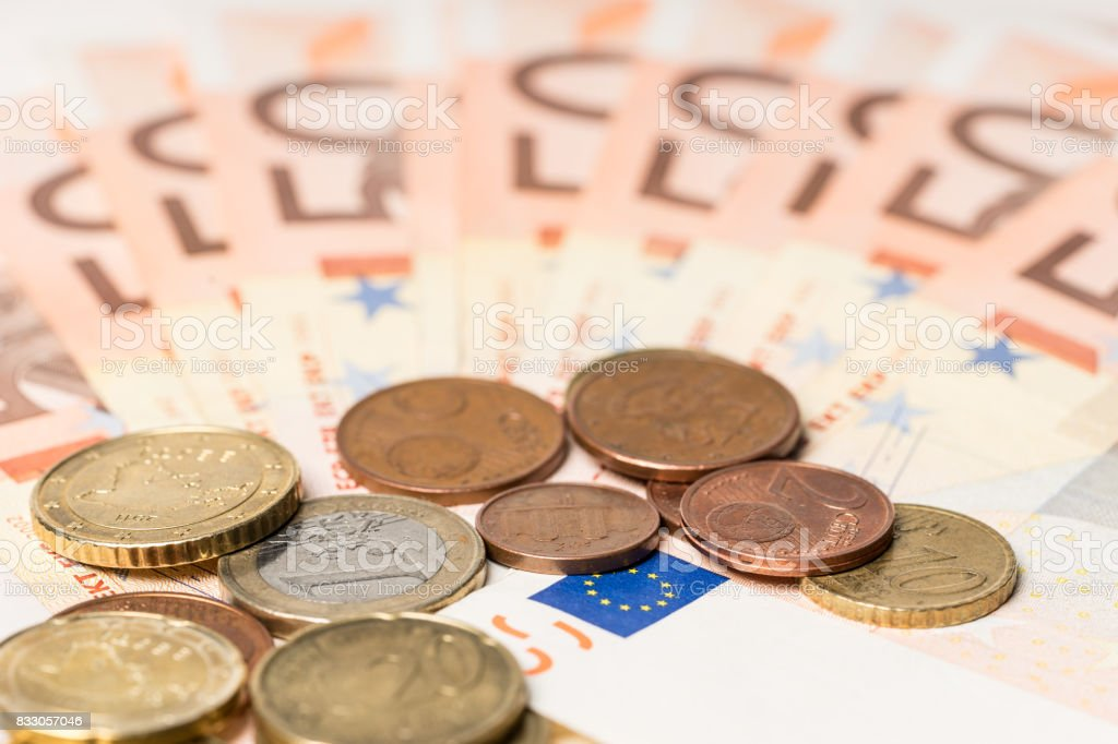 Fan from fifty euros money and cents,  many mass currency isolated  on white background stock photo