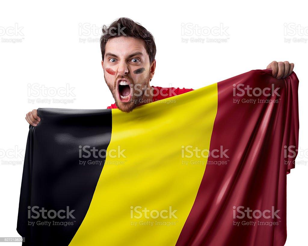 Fan holding the flag of Belgium stock photo