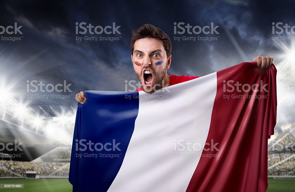 Fan holding the flag of France stock photo
