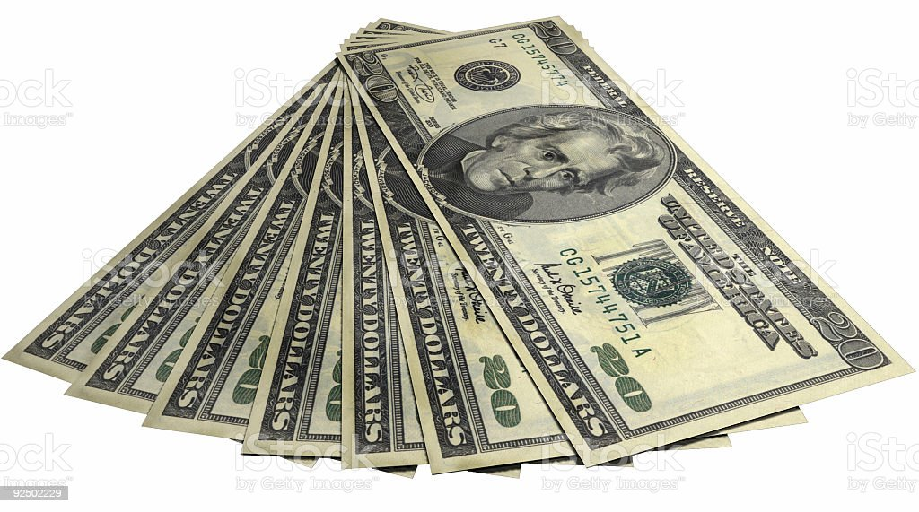 Fan made of 20 bills Front Face royalty-free stock photo
