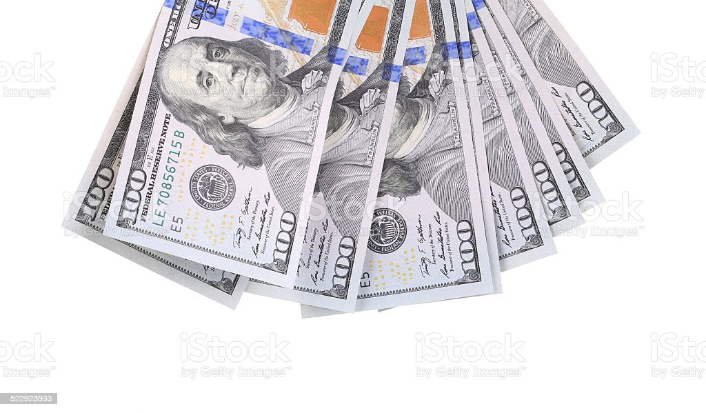 Fan of 100 dollars greenbacks. stock photo