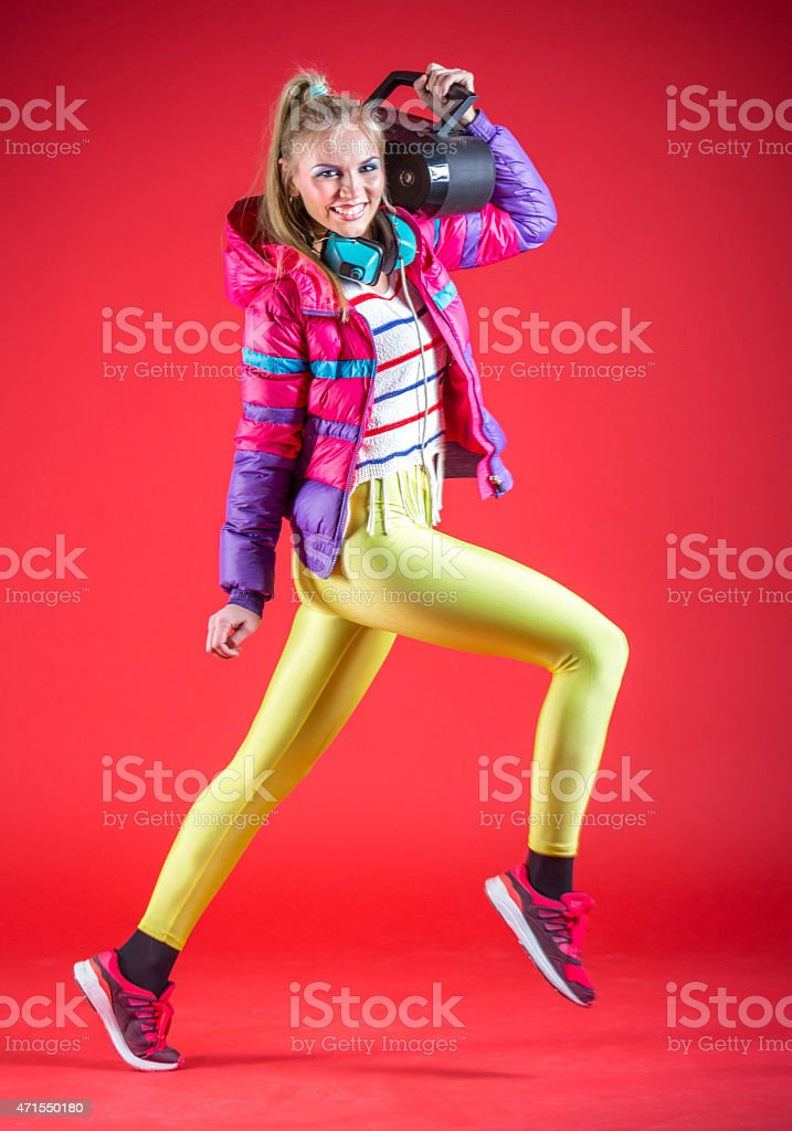 Fan of 80s music stock photo