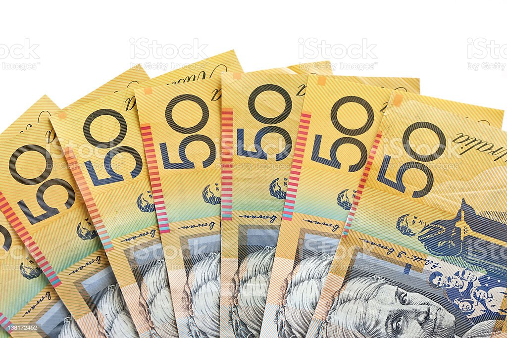 Fan of Australian fifty dollar notes stock photo