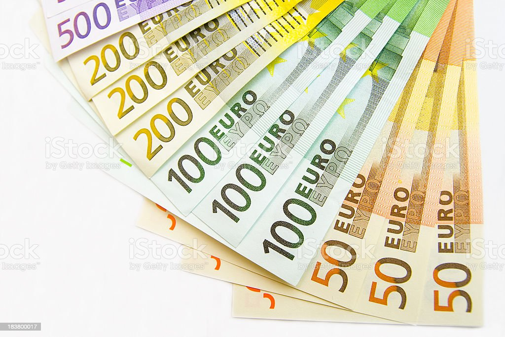Fan of Euro Notes stock photo
