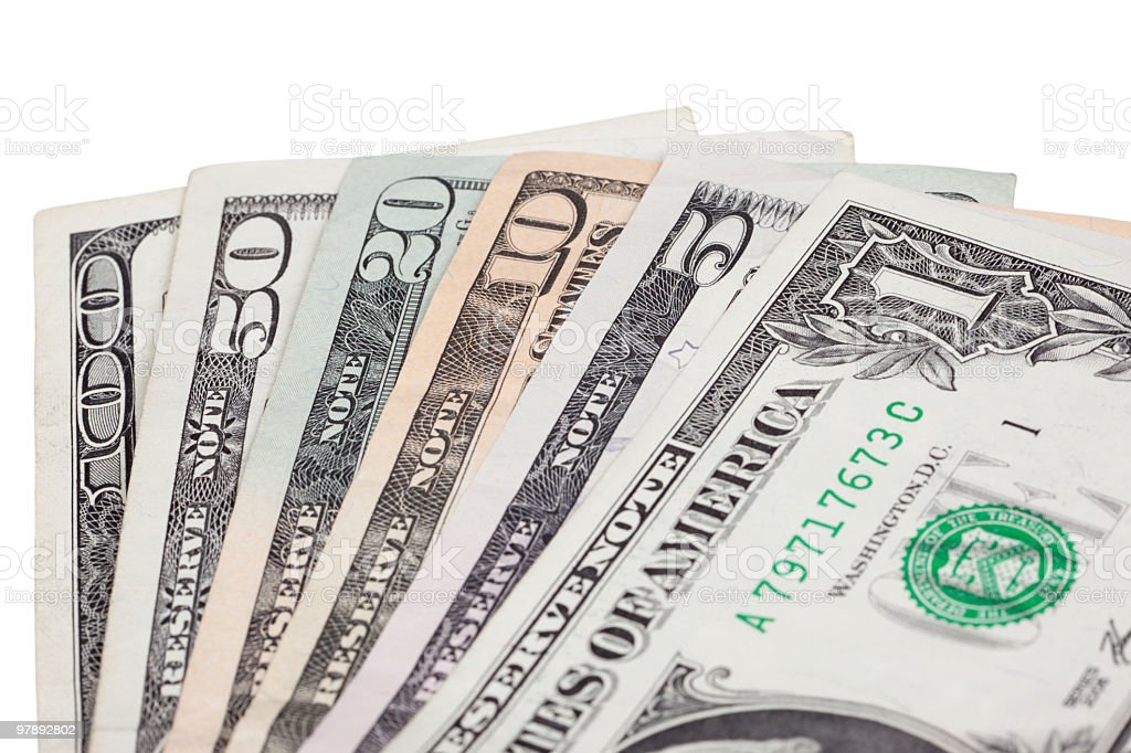 Fan of U.S. bills royalty-free stock photo