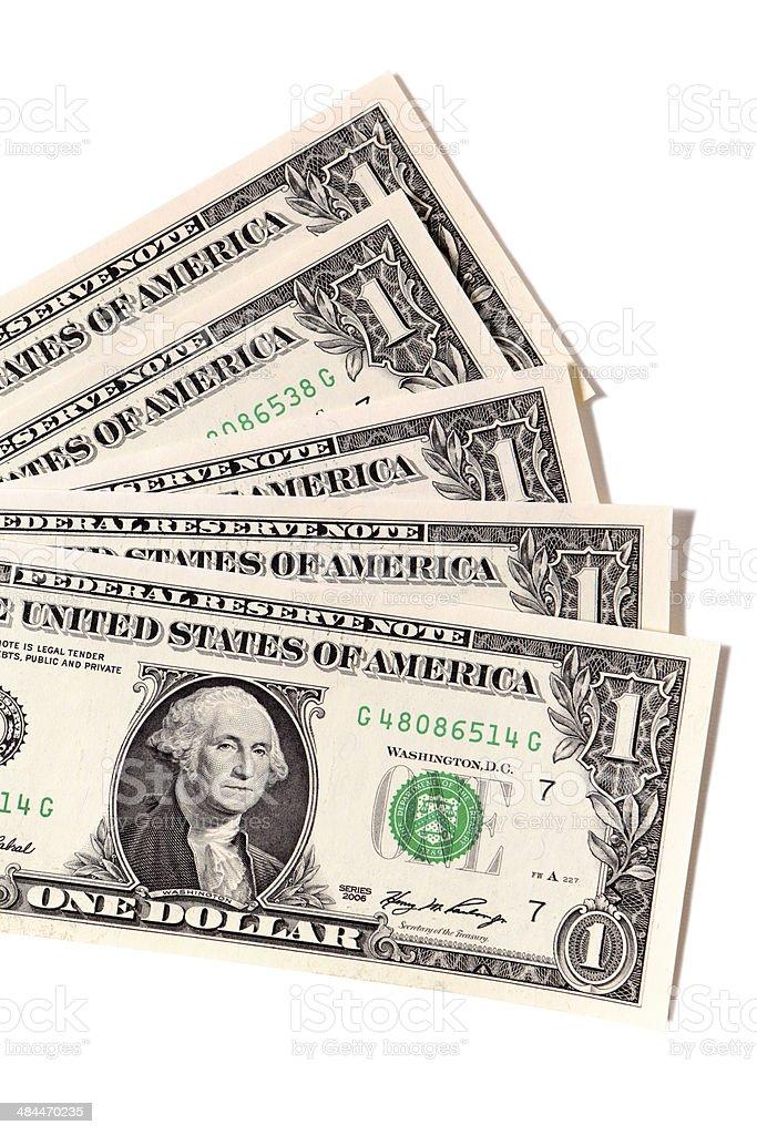Fan of US one dollar bills stock photo