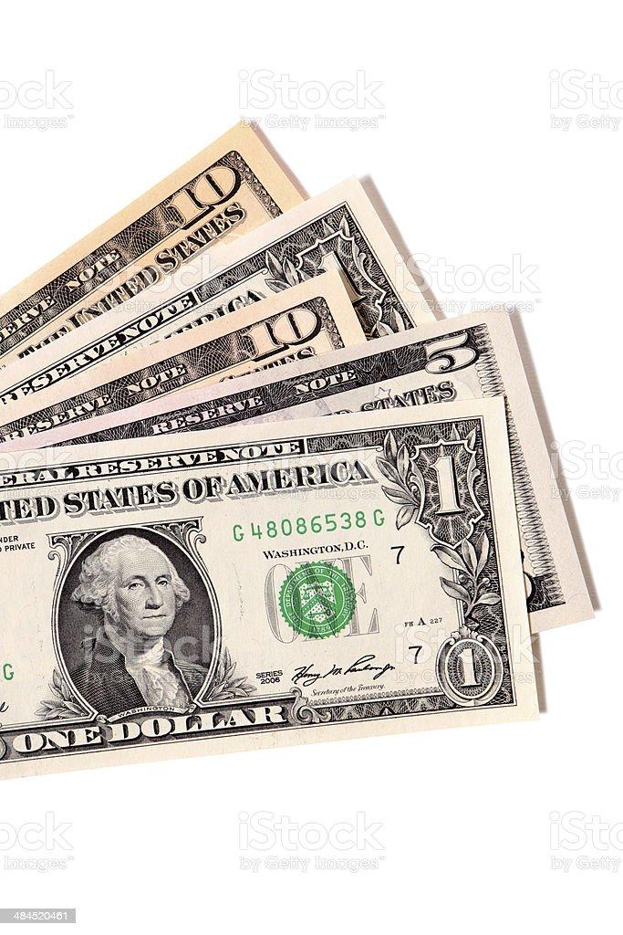 Fan of various US dollar bills stock photo