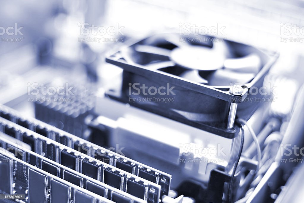 CPU, Fan & RAM - open PC stock photo