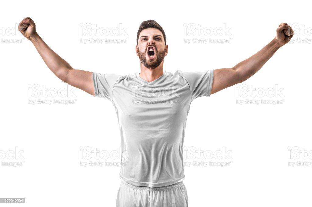 Fan / Sport Player on white uniform celebrating on white background stock photo