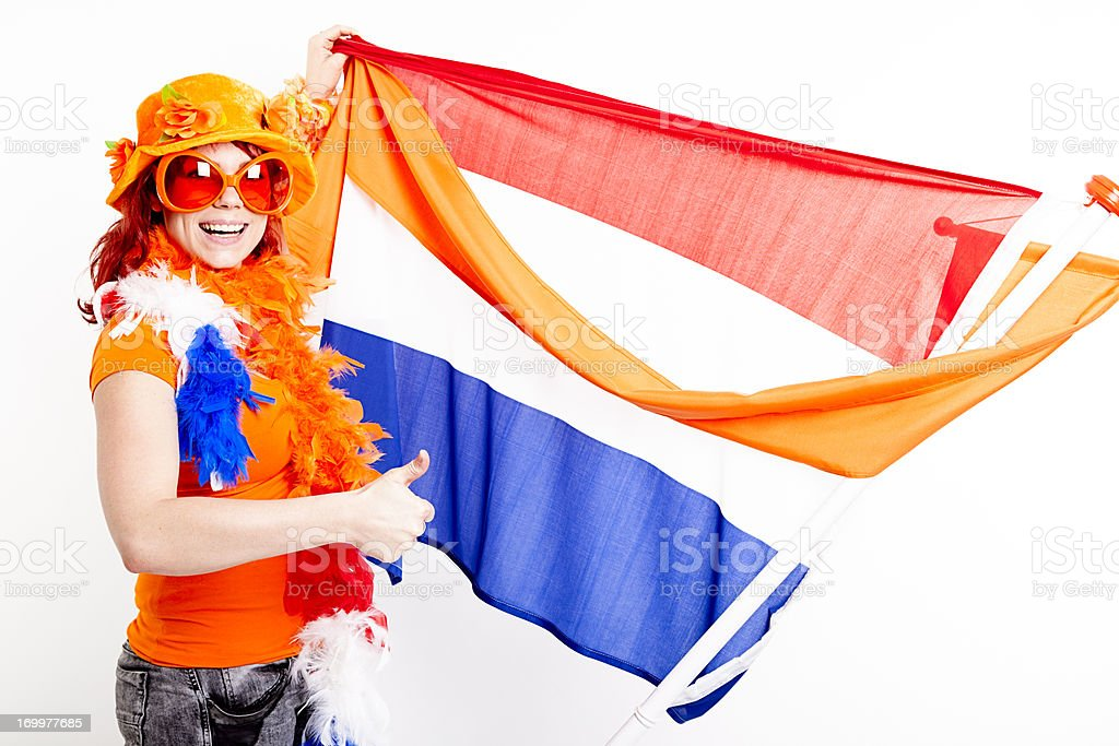 Fan with Dutch flag and orange pennant stock photo