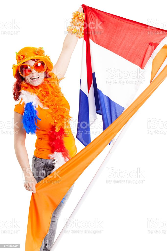 Fan with Dutch flag and orange pennant royalty-free stock photo