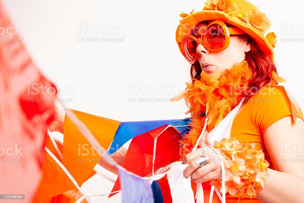 Fan with flags stock photo