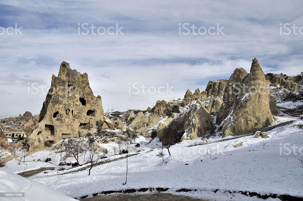 Fanciful limestone in Cappadocia stock photo