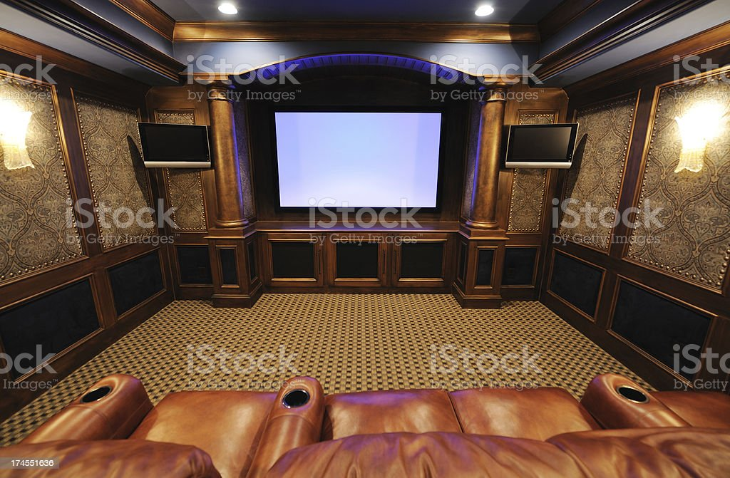 Fancy and classic home theater room royalty-free stock photo