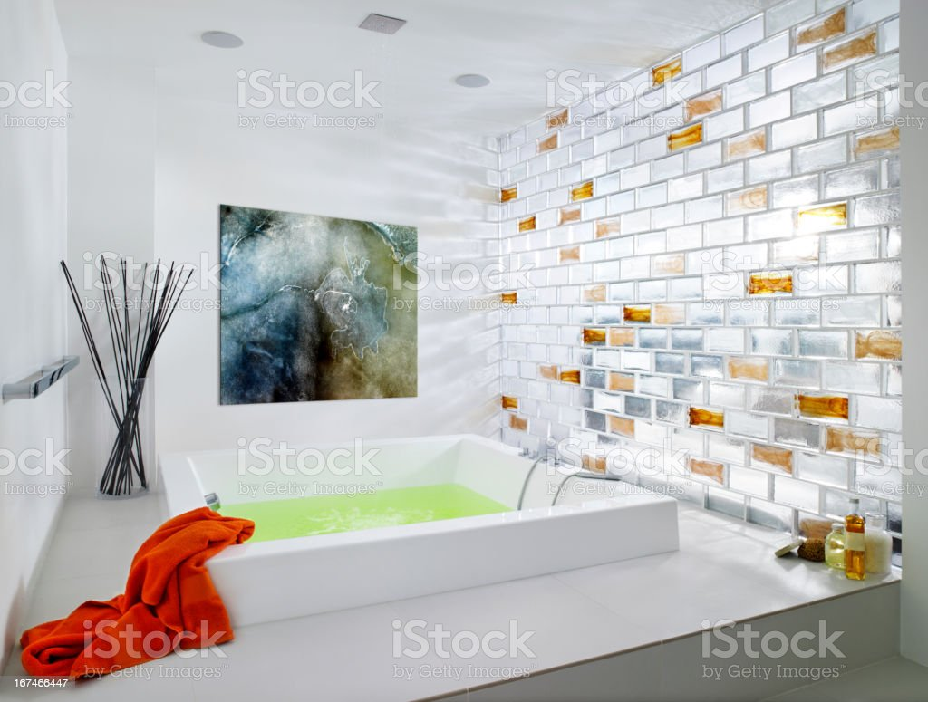 Fancy bathroom with glass stock photo