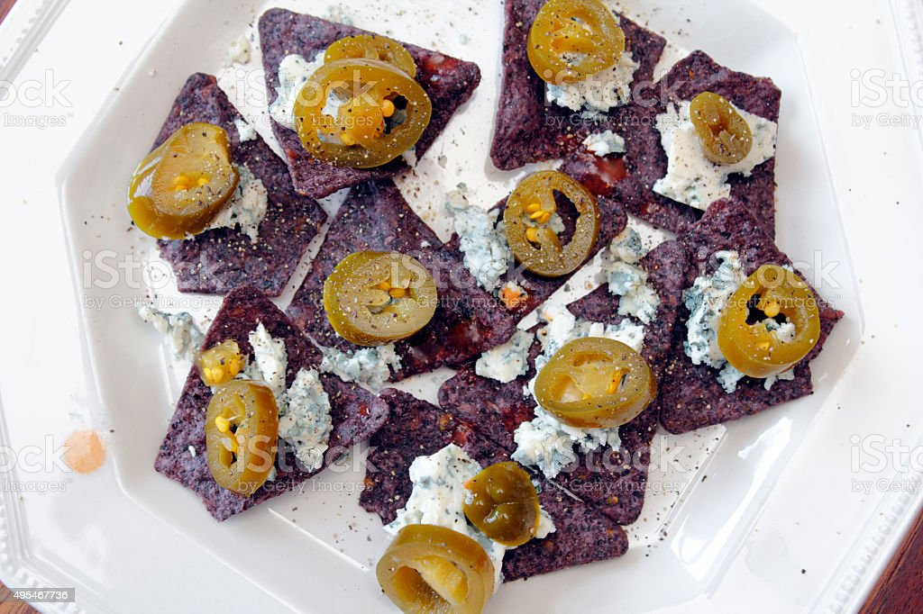 Fancy Blue Nachos stock photo