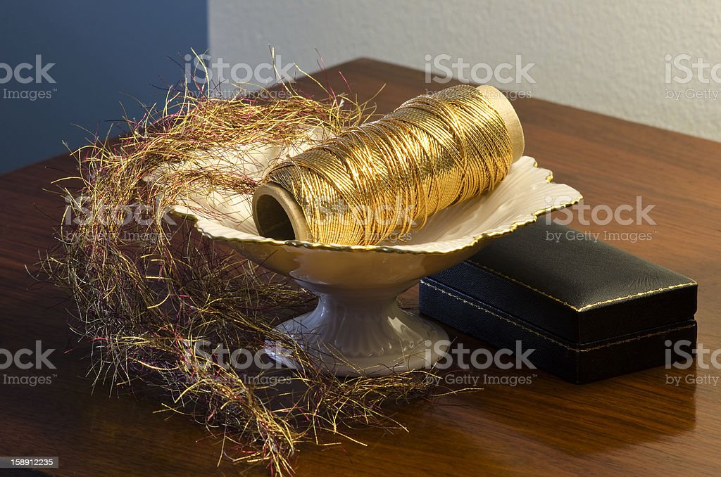fancy box with gold gift wrap royalty-free stock photo