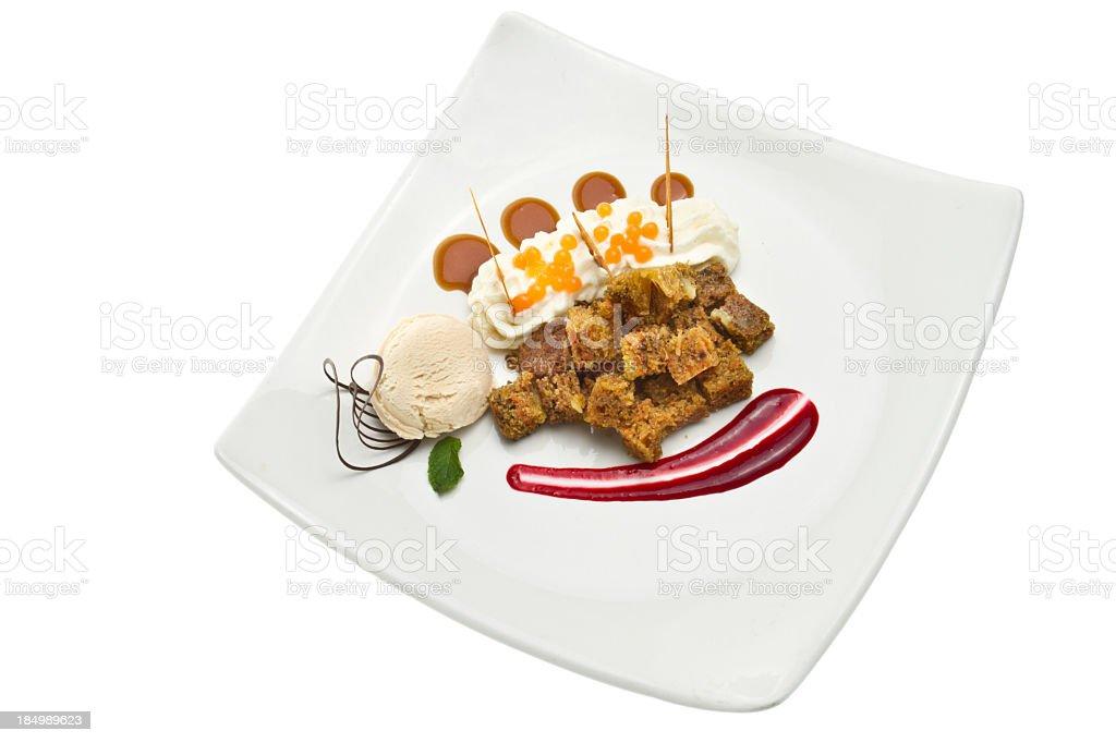 Fancy Carrot Cake Dessert a la Mode stock photo