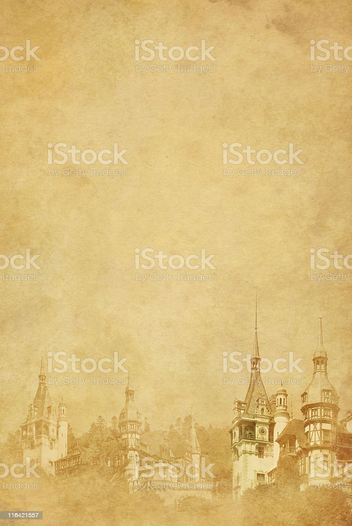 fancy castle on old paper stock photo