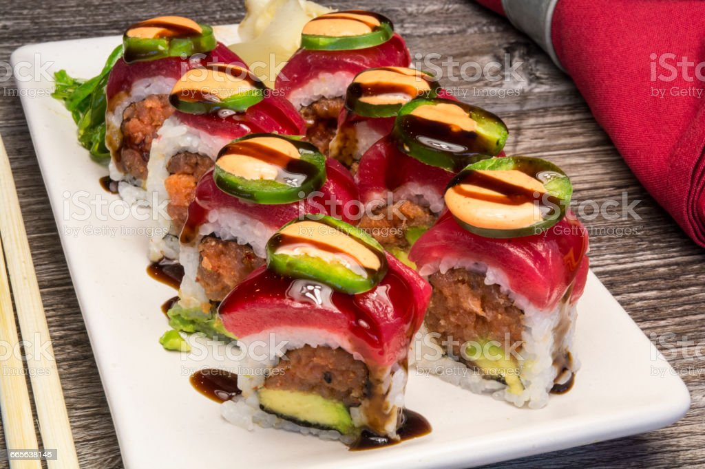 Fancy Colorful Japanese Gourmet Sushi Dinner stock photo
