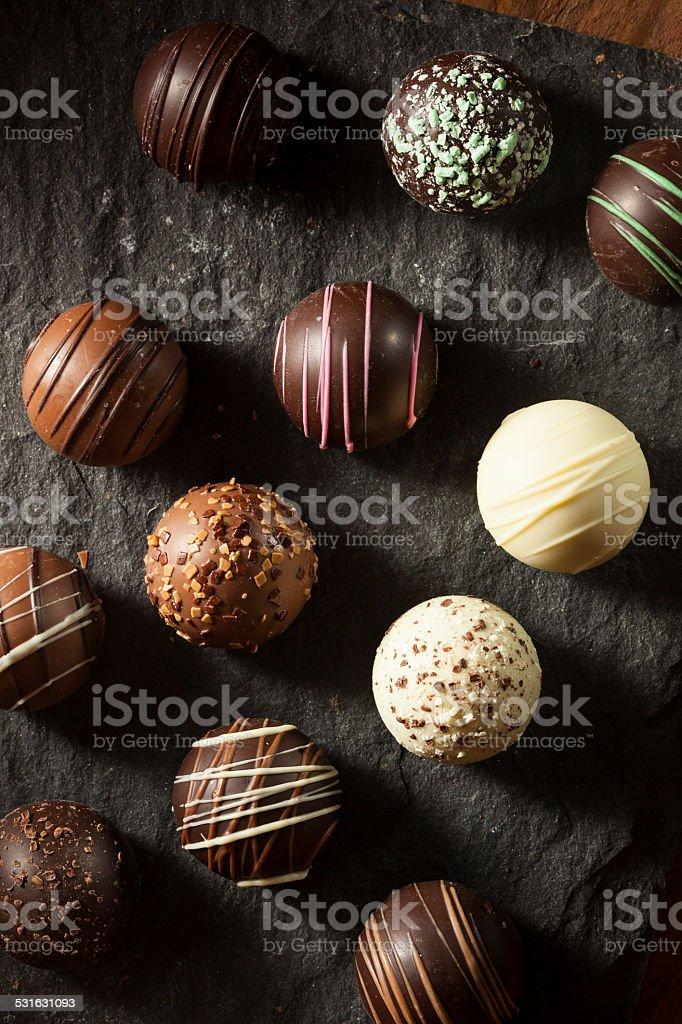 Fancy Dark Chocolate Truffles stock photo