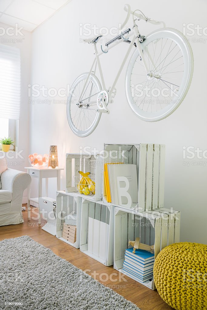 Fancy decoration on wall in room stock photo