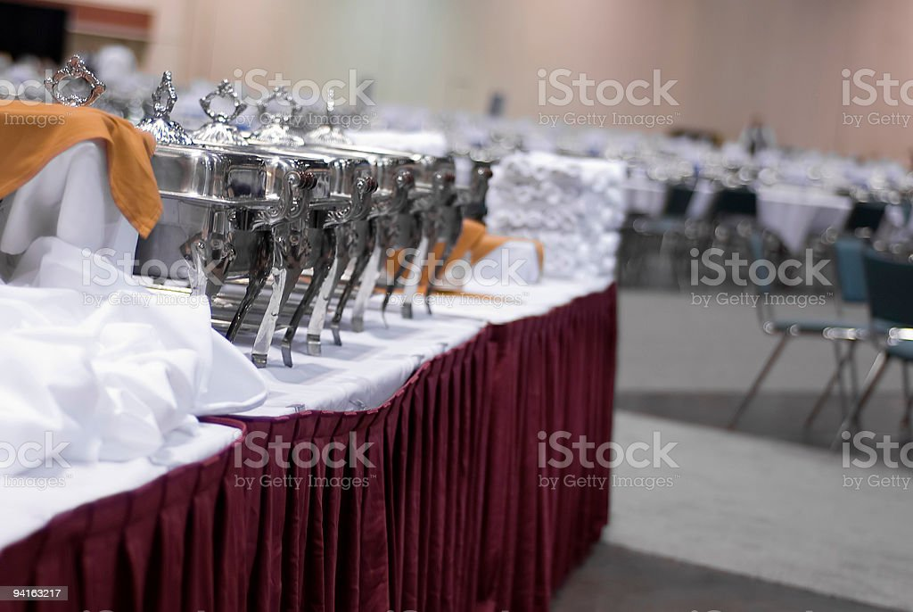 Fancy Food Serving Trays on a Buffet Table stock photo