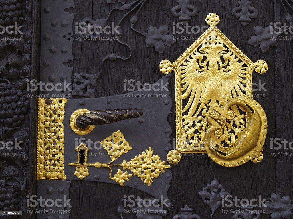 fancy golden door handle stock photo